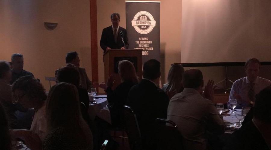 Exciting LRT news announced by Mayor Watson at the Barrhaven Breakfast for Businesses!